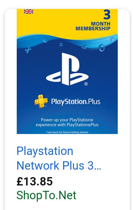 PlayStation Plus 3 months membership £13.85 at ShopTo