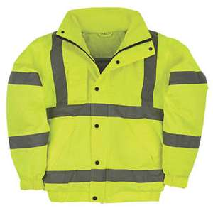 Screwfix Hi-Vis Bomber Jacket better than half price, now £12.99 was £29.99, sizes M, L & XL