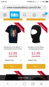 Kangaroo poo clothing - items from £1.99 @ MandM direct (£4.99 del)