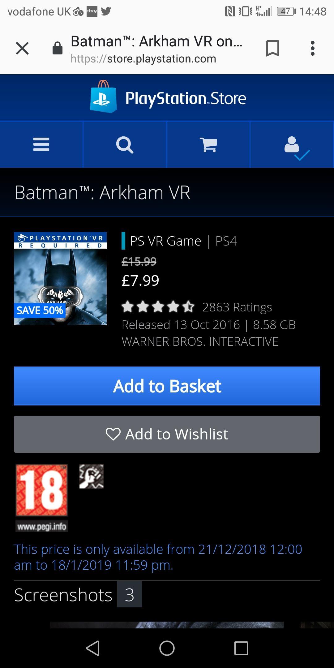 Batman Arkham Vr - 7.99 @ Playstation Store