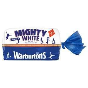 Warburtons Mighty White Medium or Thick Bread 800g HALF PRICE only 50p from 1st Jan @ Iceland
