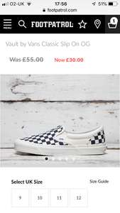 Classic Vans Checkboard Shoes - £30 (+ £3.99 Delivery) @ FootPatrol