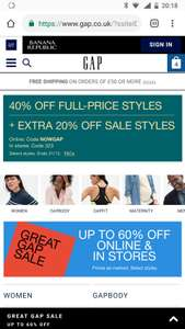 Gap 40% off non sale items (some exclusions)