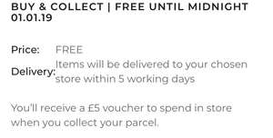 Free Buy & Collect at House of Fraser with £5 voucher