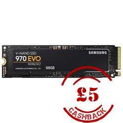 Samsung 970 EVO M.2 NVMe SSD/Solid State Drive 500GB for £105.18 (+£5 Cashback) Delivered @ Aria