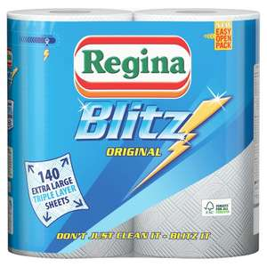 Cleaning & Janitorial Supplies Regina Blitz Kitchen Towels Extra-large Rolls 3 For 2 Offer 50% Extra Free! Business & Industrial