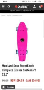 """Maui And Sons StreetShark Complete Cruiser Skateboard 22.5"""" £14.99 + £2.99 Delivery @ Skate Hut"""