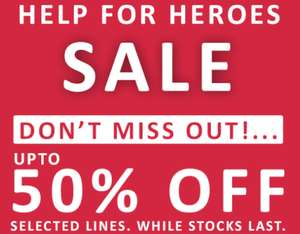 Many items reduced upto 50% off from keyrings to hoodies free delivery over £40 @ Help for heroes