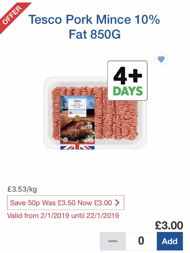 Tesco pork mince 10% fat 850g £3