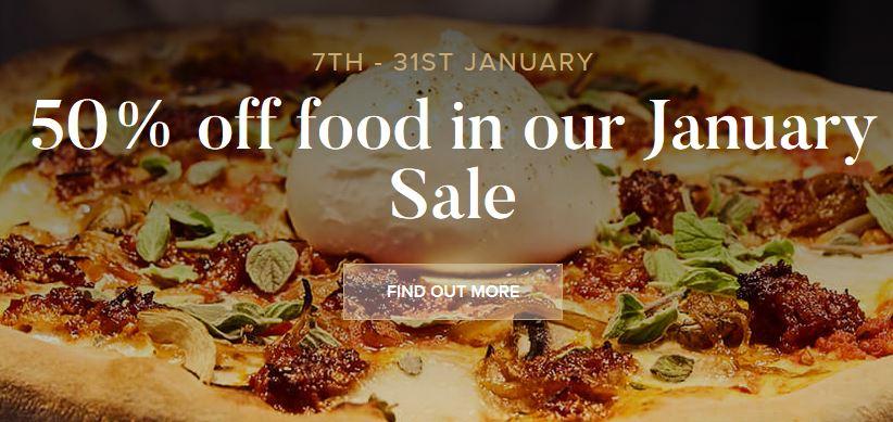 Gusto Italian Restaurant 50% Off January Sale