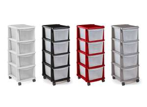 Home 4 Drawer Plastic Tower Storage Unit (White / Black / Red / Silver) for £8.99 @ Argos