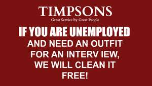 Free suit cleaning at Timpsons for anyone currently unemployed and going for an interview