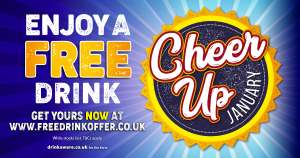 Free drink pint beer lager cider spirits  gin at many pubs around country 2-20 January wide choice of drinks with Great British Pubs