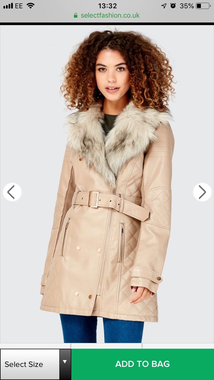 Faux Fur Collar Pu Trench Jacket £27 Select Fashion - free c&c