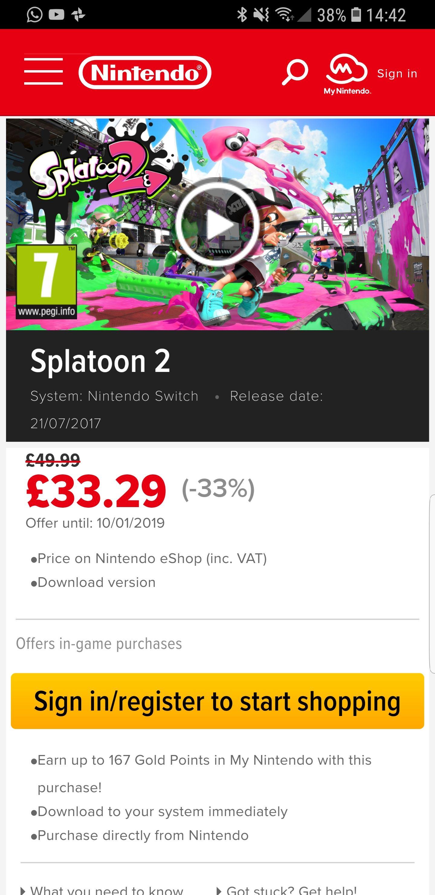 Splatoon 2 digital download for Nintendo Switch for £33.29 on Nintendo eShop