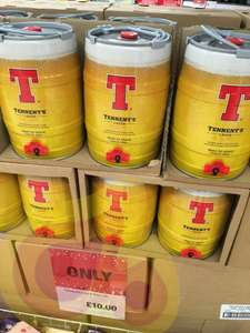 £10 for 5 litre keg of Tennents At my local Co-op in Portobello Edinburgh