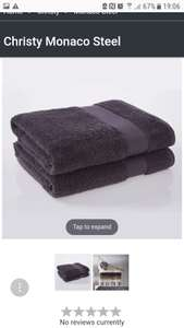 Christy Monaco towels steel or cream - £2.88 (with code) @ Just Linen