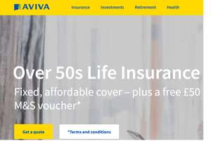 Free £50 M&S voucher with Life Insurance cover Over 50s @ Aviva - plus cashback with quidco