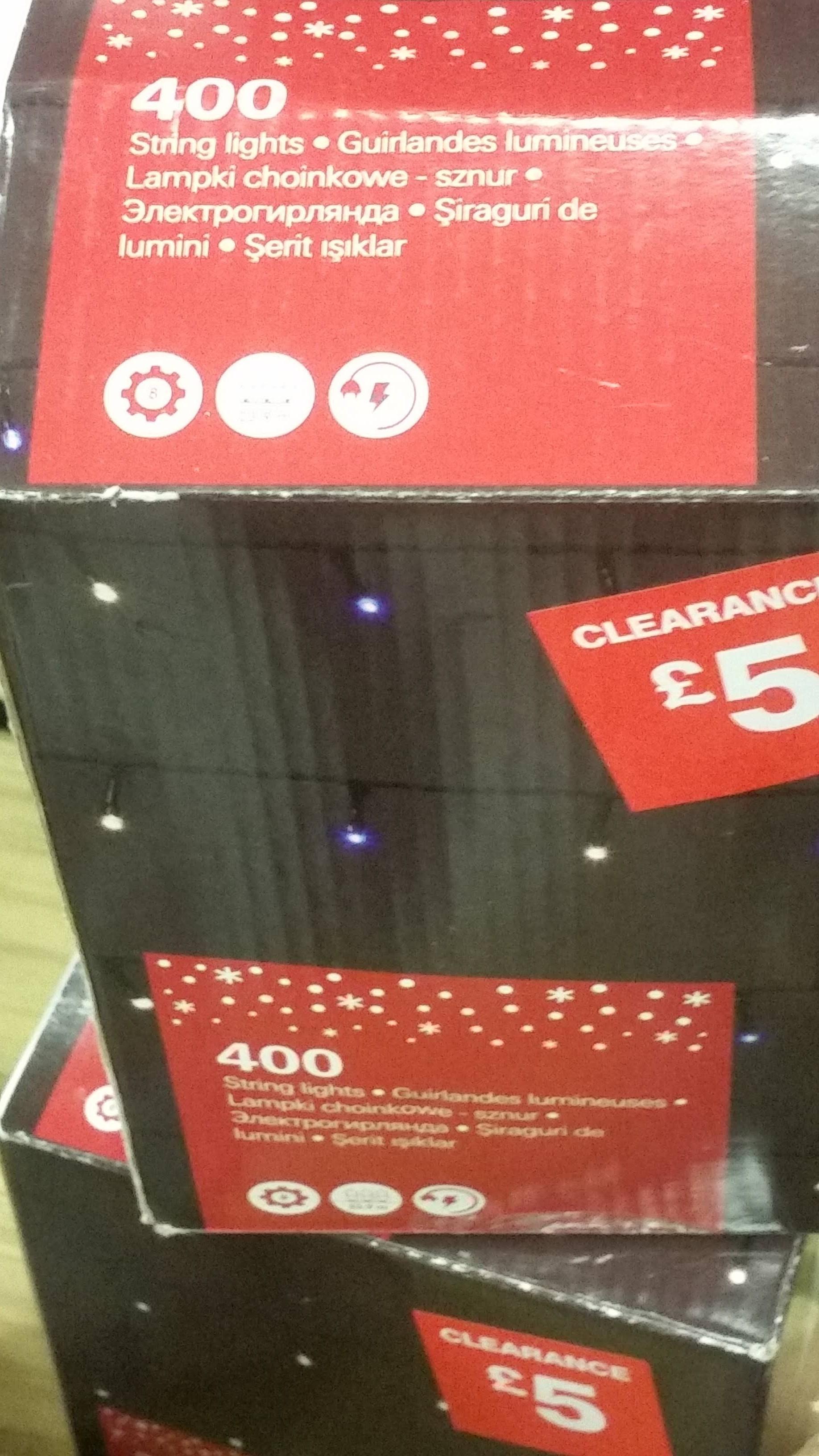 B&Q  400 Christmas string lights  £5 /  250 Christmas cluster string lights £8 /720 string lights £15