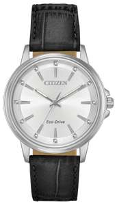 Citizen Eco-Drive Ladies Leather Strap Watch, WR 50M, Swarovski stone hour markers - £89.99 using code @ H Samuel