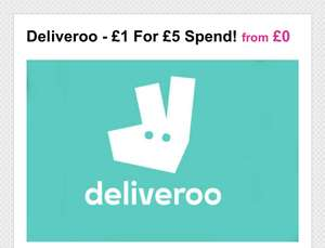 Free £2 deliveroo credit for existing customers or £5 for £1 (new customers) @ Wowcher