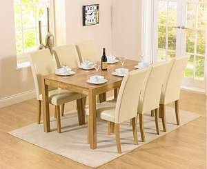 Oxford 150cm Solid Oak Dining Set with Albany Cream Chairs £339 Oak Furniture Superstore