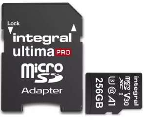 Integral 256GB UltimaPRO V30 Premium Micro SD Card (SDXC) UHS-I U3 + Adapter - 100MB/s for £25.19 Delivered @ Mymemory