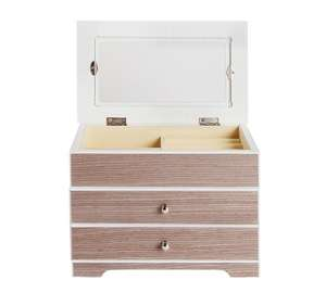 wooden 2 drawer jewellery box white and grey. Black Bedroom Furniture Sets. Home Design Ideas