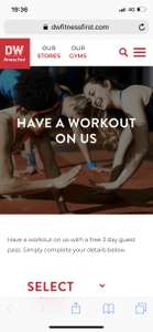 Free 3 day pass with DW fitness first