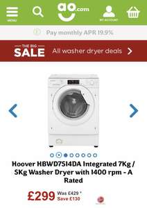 Hoover HBWD7514DA Integrated 7Kg / 5Kg Washer Dryer with 1400 rpm - A Rated @ AO