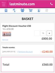 £800 worth of flights for £560! 30% off flight gift cards @ lastminute.com
