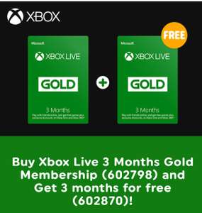 Xbox Live 3 Month Gold Membership + 3 Months FREE @ Smyths Toys £14.99