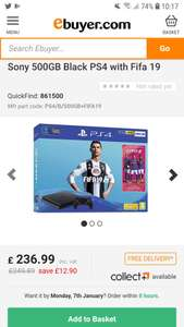 Ps4 FIFA 19 500gb free delivery £236.99 @ Ebuyer