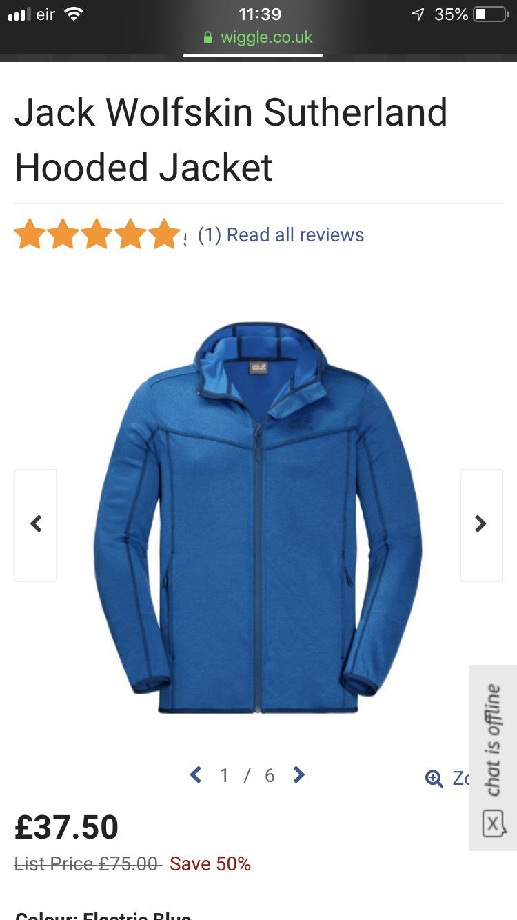Jack Wolfskin Sutherland Hooded Jacket £36.32 @ Wiggle