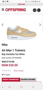 Nike Air max 1 trainers £35 @ Offspring - Free c&c