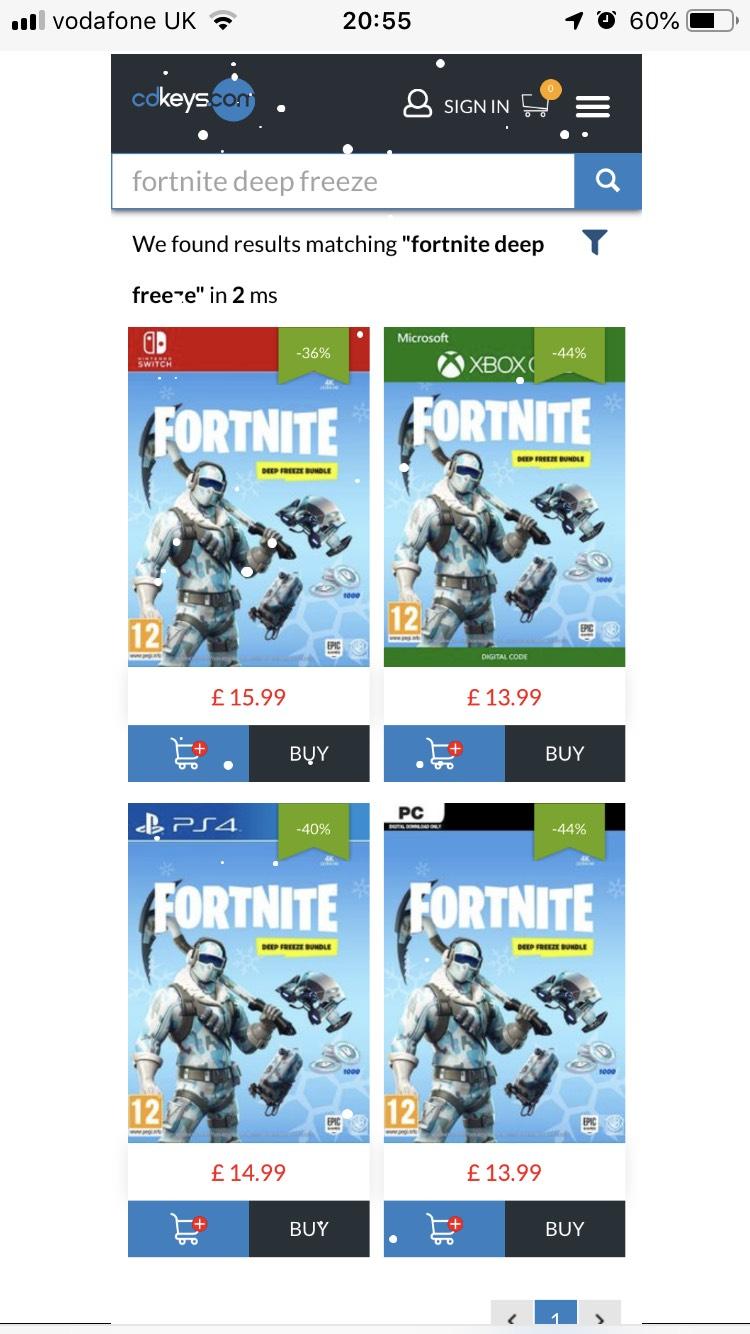 Fortnite Deep Freeze Bundle - Xbox/PC/PS4/Switch - FROM £13.99 @ CDKeys