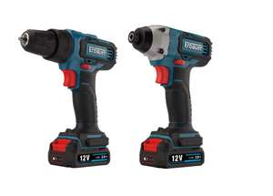 Erbauer 2Ah 12v Lithium-ion Impact driver & drill driver 2 batteries EID12-Li £90 delivered @ B&Q