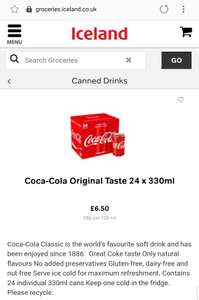 Coca-Cola Original Taste 24 x 330ml - £6.50 @ Iceland IN-STORE at Various Branches (Stock Availability Applies)