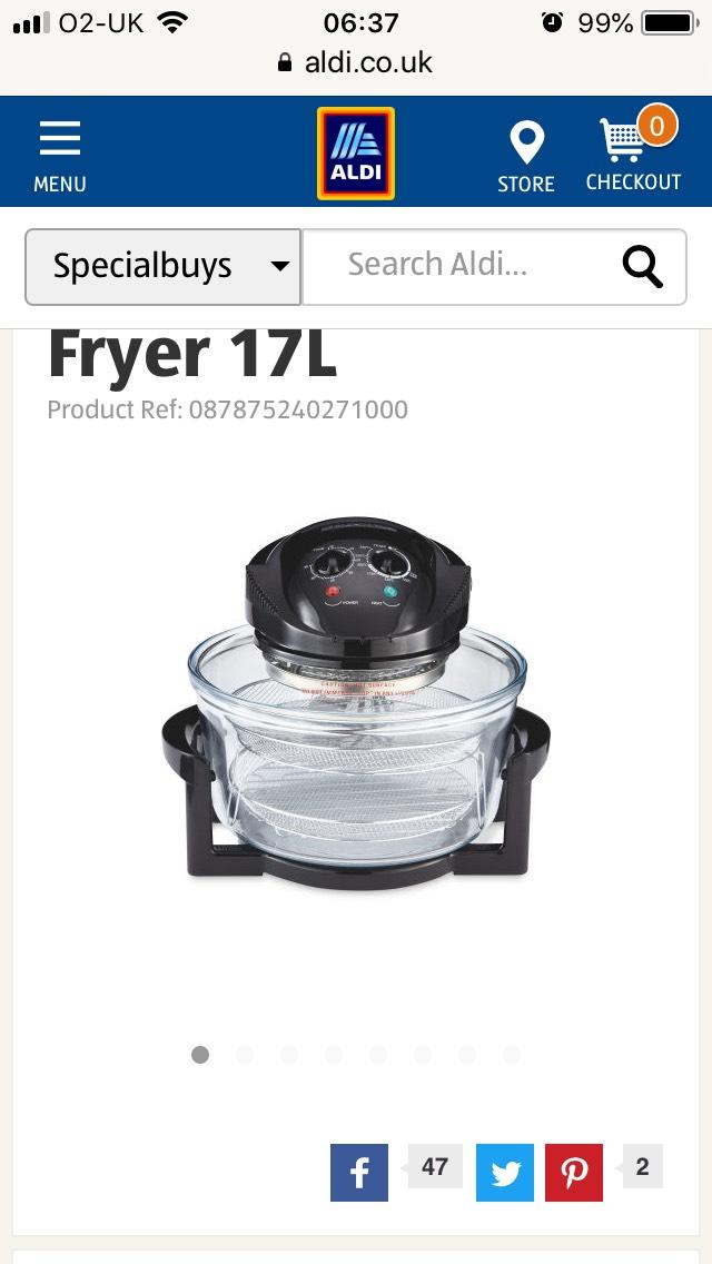 Ambiano  2 in 1 17ltr Air Fryer £29.99 ALDI
