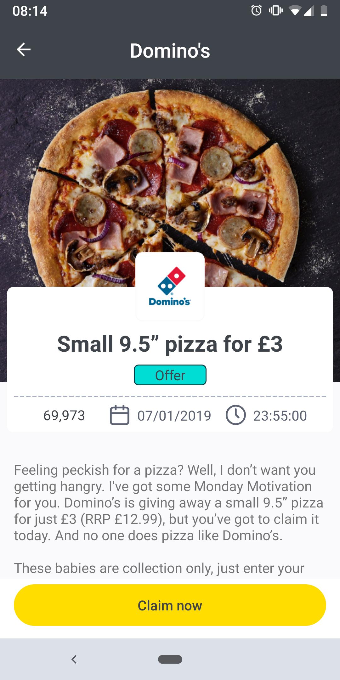 Small 9.5 inch Domino's pizza for £3 via wuntu.