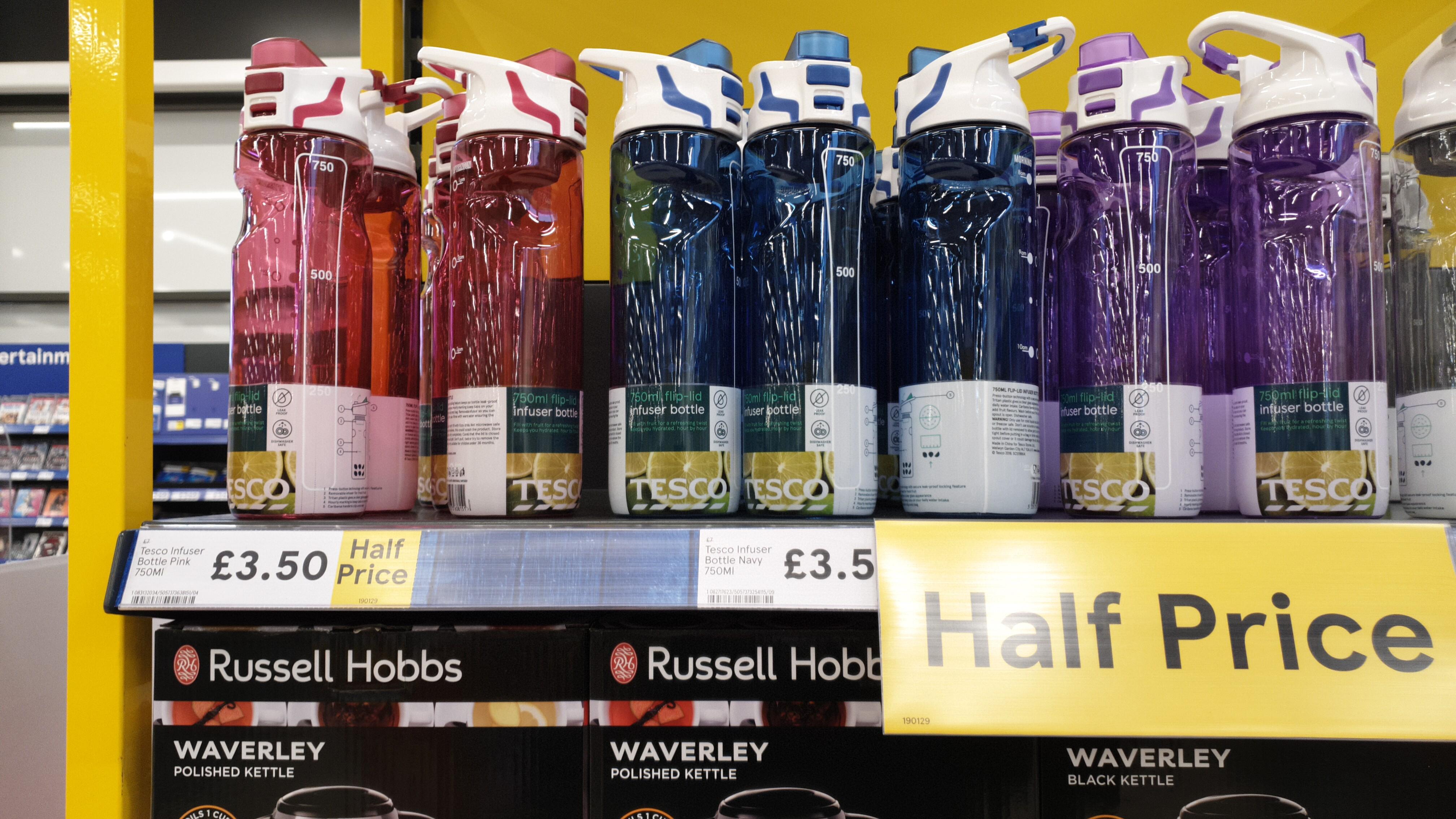 Tesco drink bottle 750ml fliplid with fruit infuser half price £3.50