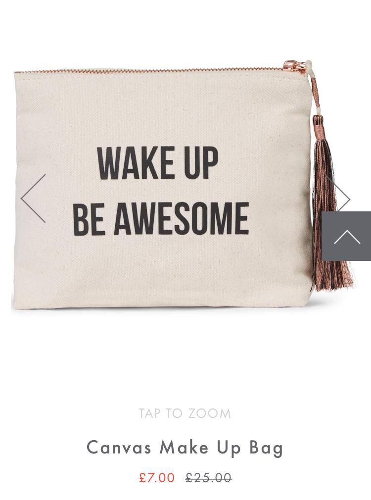 Wake Up Be Awesome Make up Bag now £5.60 @ Sweaty Betty Free C&C