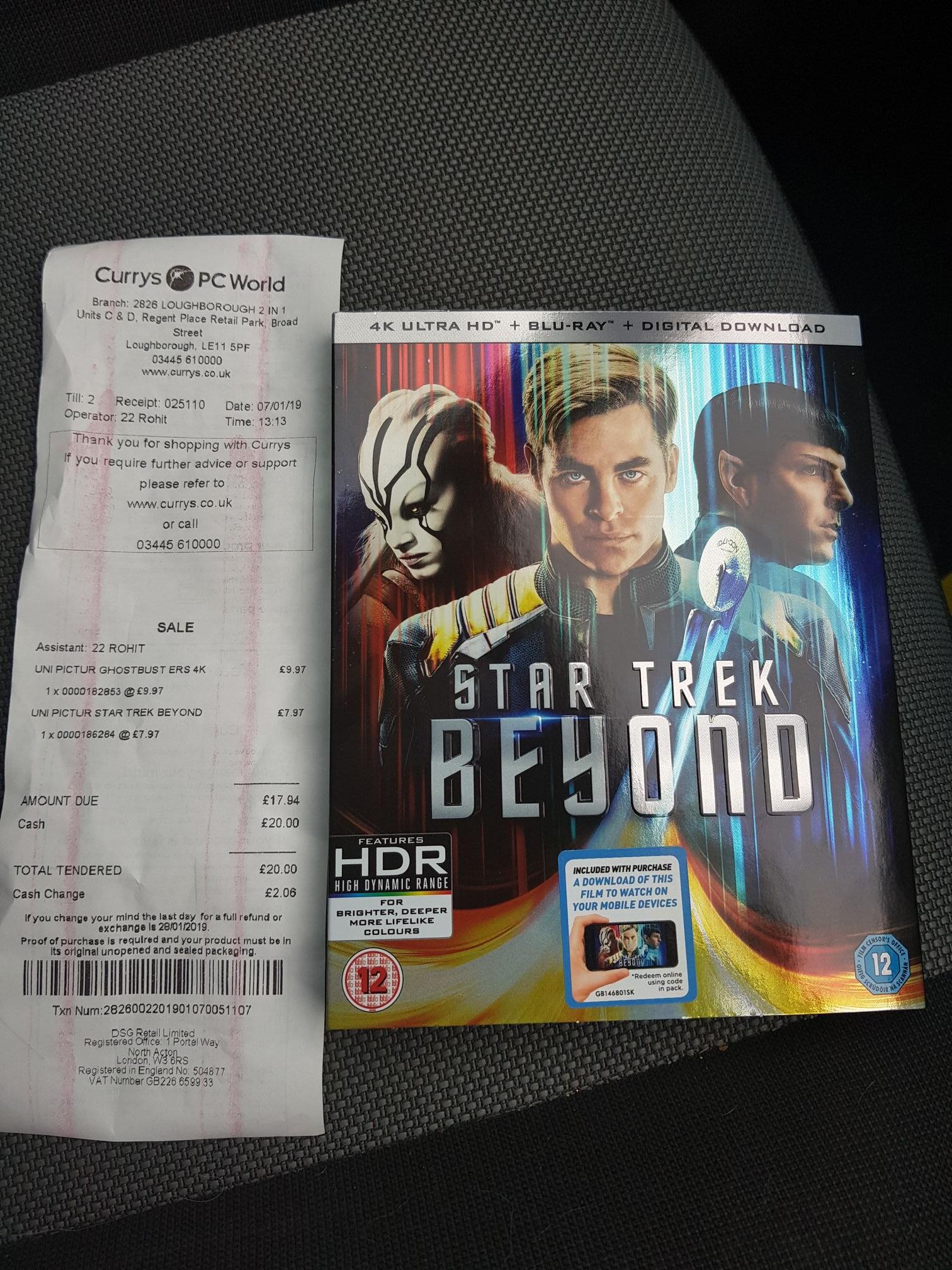 Star Trek Beyond 4K Blu Ray £7.97 at Currys