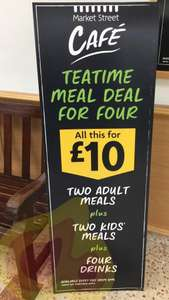 Morrisons cafe Teatime family meal deal: 2 adult meals, 2 kids meals and 4 drinks for only £10 from 3pm