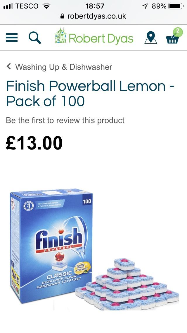 Finish Powerball Lemon (Pk 100) - £13 @ Robert Dyas (+£3.95)