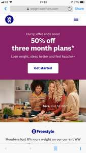 3 months half price weight watchers online and meetings - £10.73pm x 3 months - total cost £32.19
