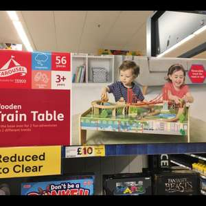 Carousel 56 piece wooden train table set reduced to clear instore £10 @ Tesco