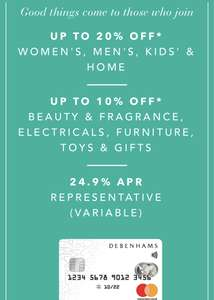 Join Debenhams mastercard and get up to 20% extra off