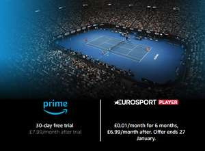 Amazon Prime Eurosport Player: 1p/month for 6 months (Usually £6 99