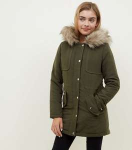 Girls Khaki Faux Fur Trim Hooded Parka now £9 @ new look  free c&c over £19.99